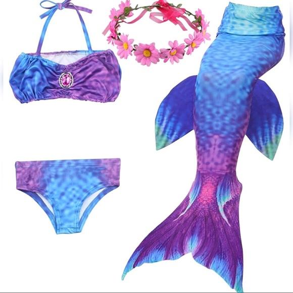 // 7-8Y Purple Girls Bikini Mermaid Swimsuits Mermaid Tails for Swimming XXL 8T